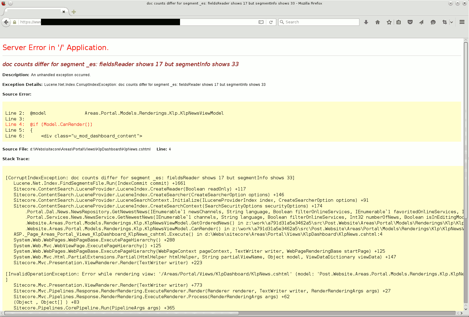Stacktrace of exception shown to the user in the browser