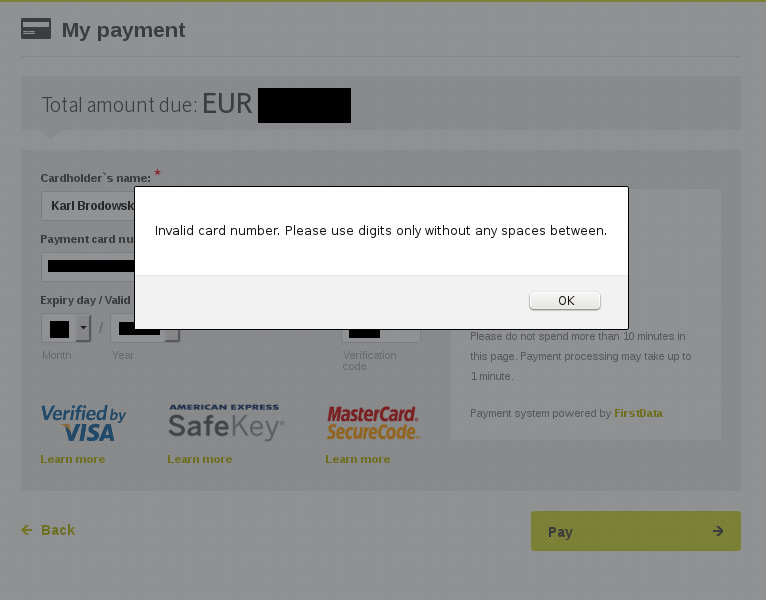 Credit Card Number without Spaces
