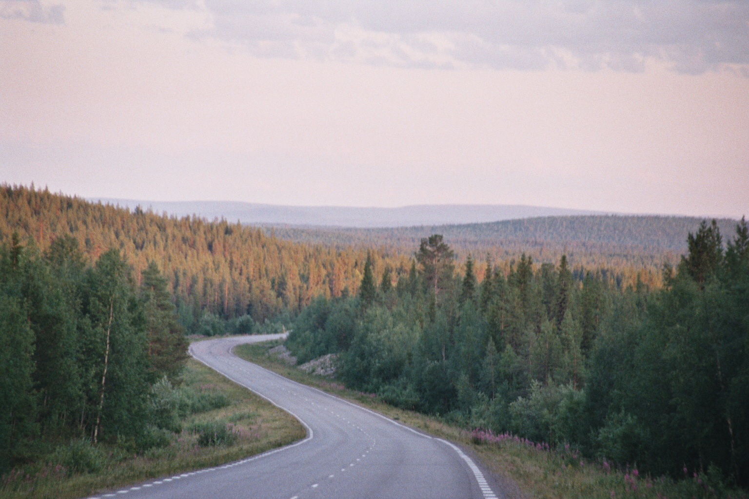 Highway E45 in the Taiga in northern Sweden 2014